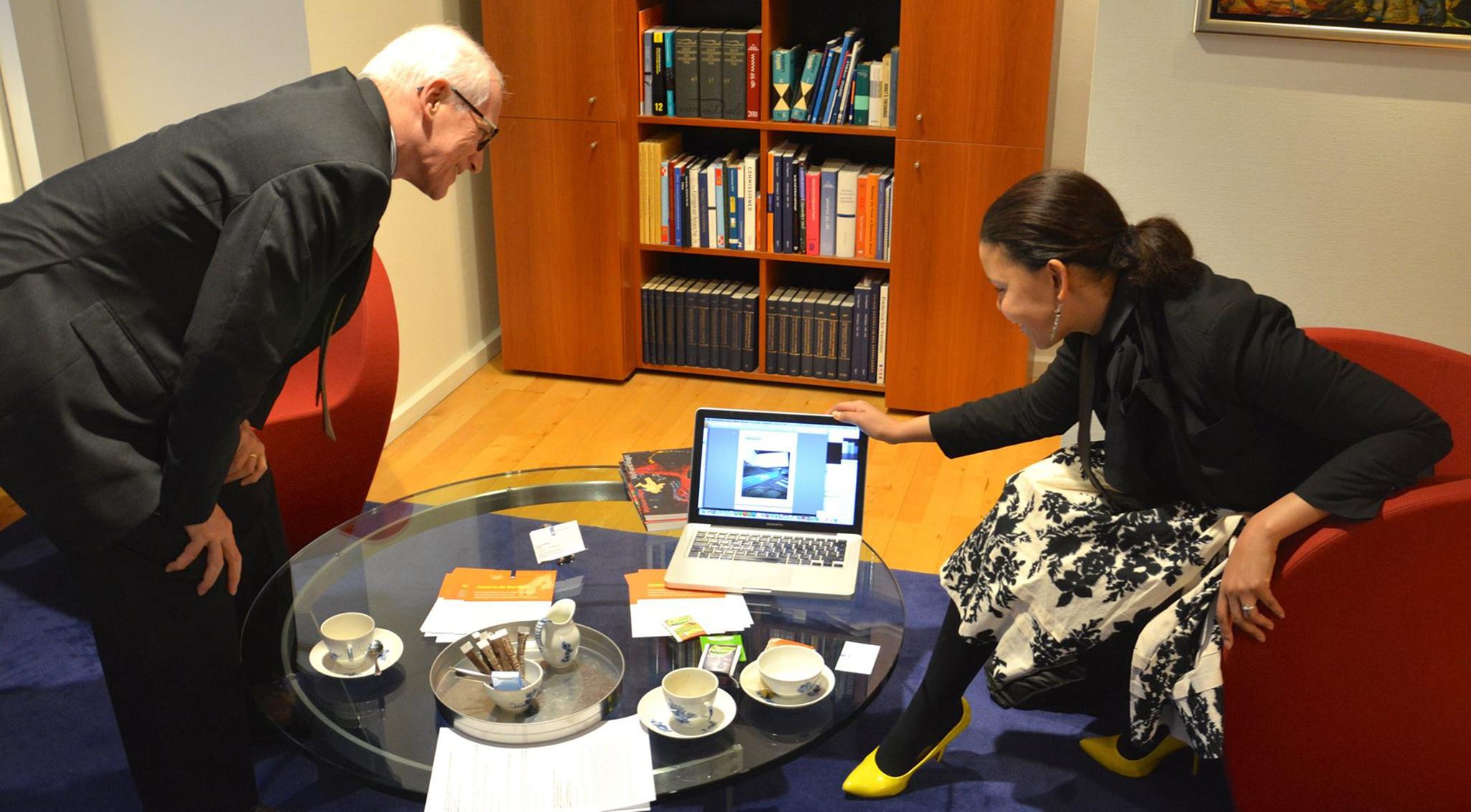Jamain Brigitha presents DREAM COPENHAGEN to the former Dutch Ambassador Middeldorp Embassy of the Netherlands in Denmark, Copenhagen January 30, 2014
